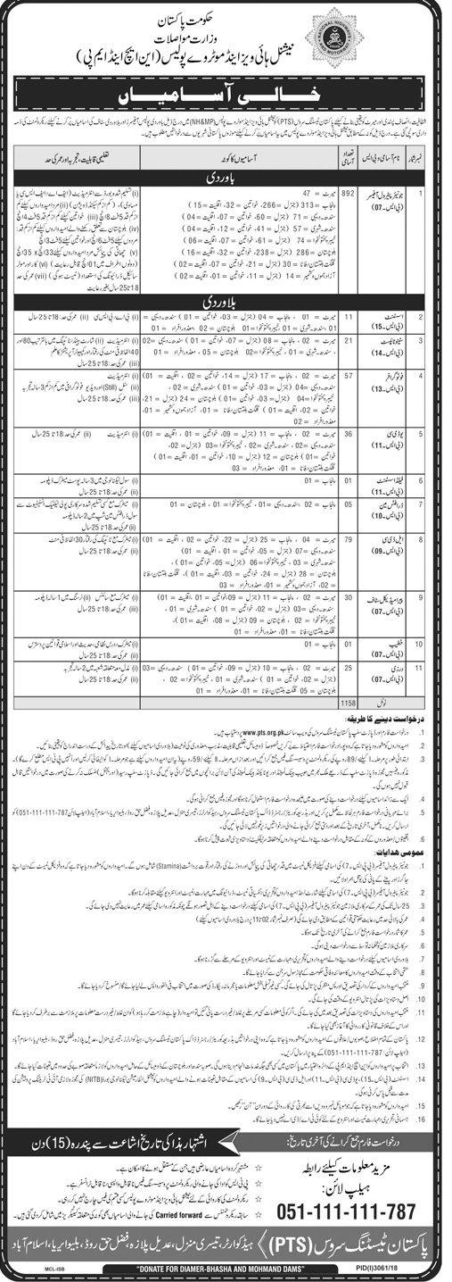 892 Junior Patrol Officer in Motorway Police PTS Jobs 2019