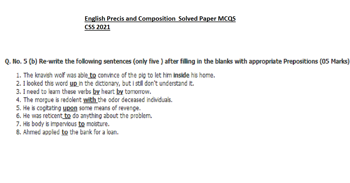 English Precis and Composition Sovled Paper CSS 2021
