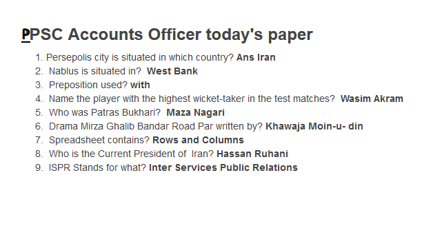 Accounts Officer PPSC today past paper
