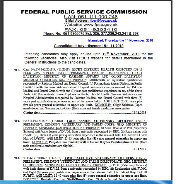 FPSC Jobs Advertisement No  11/2018 Apply Online