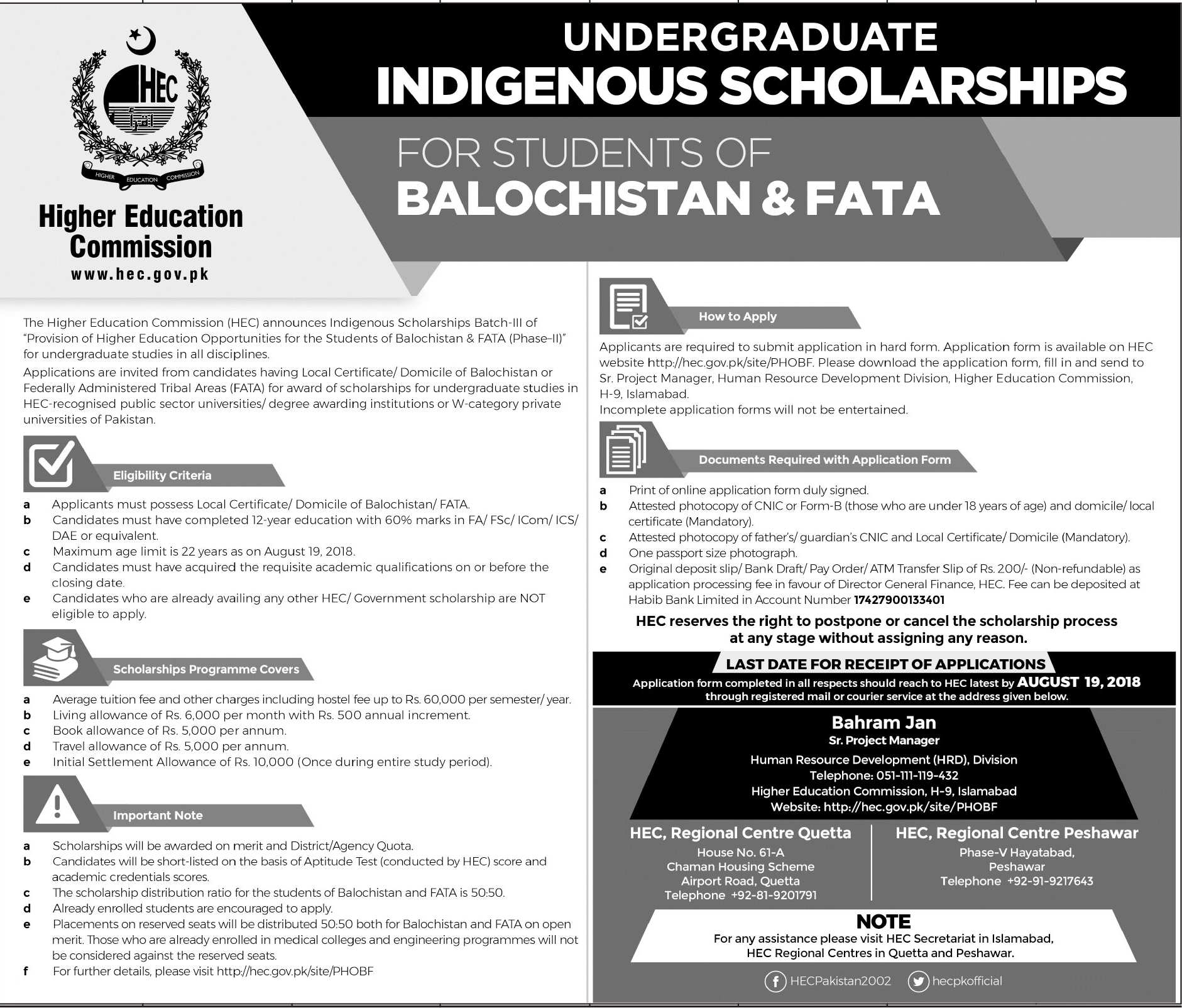 Undergraduate Indigenous HEC Scholarships for Students of ...