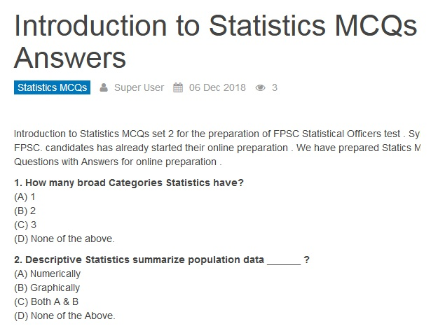Introduction To Statistics MCQs