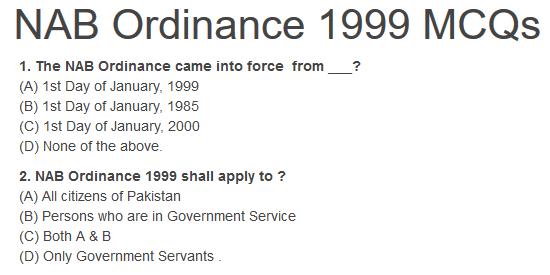 NAB Ordinance 1999 MCQs