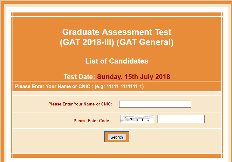 Roll No Slip of Graduate Assessment Test GAT General Test