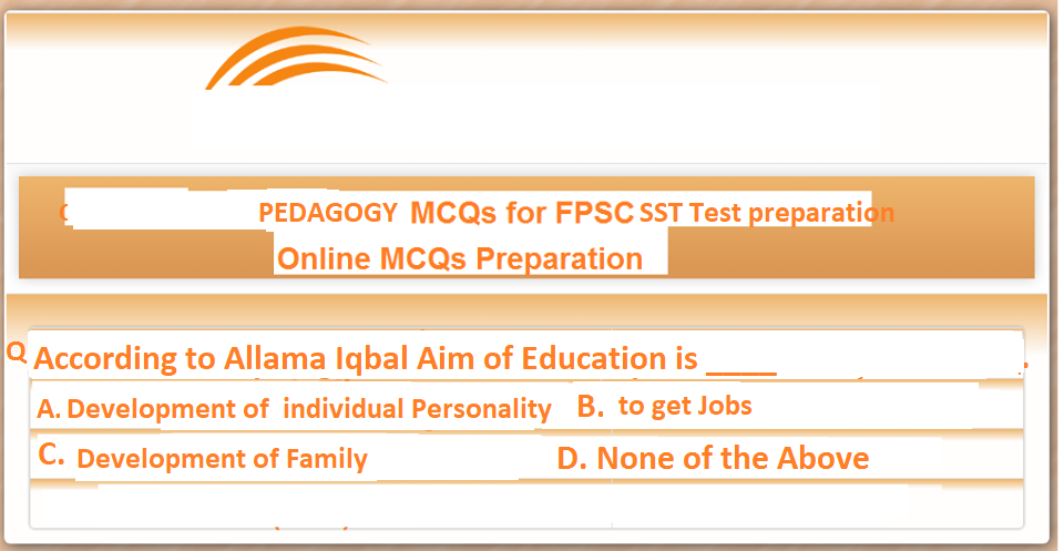 Perspective of Education in Pakistan Pedagogy MCQs for SST Test Preparation