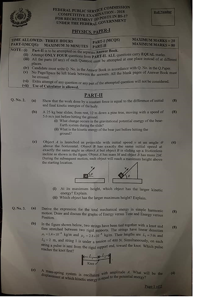 Physics Paper -I A CSS 2018
