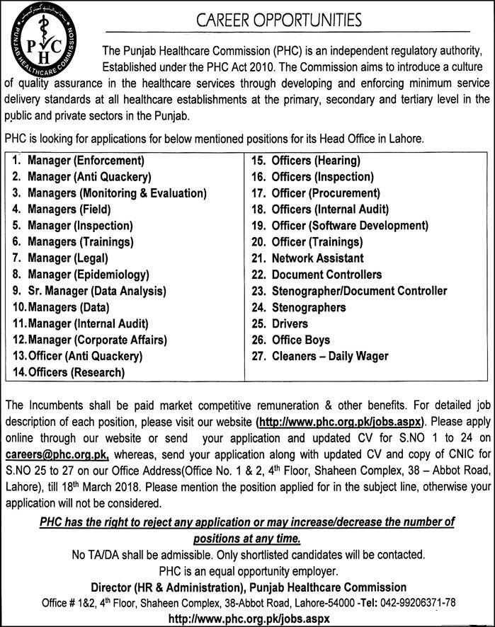 Punjab Health Care Commission 2018 Jobs Apply Online