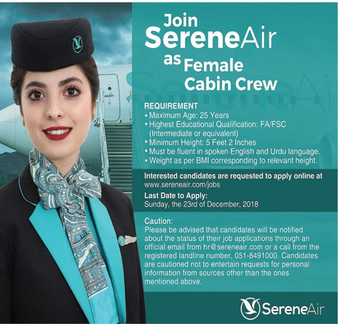 Female Cabin Crew Jobs in Serene Air 2018