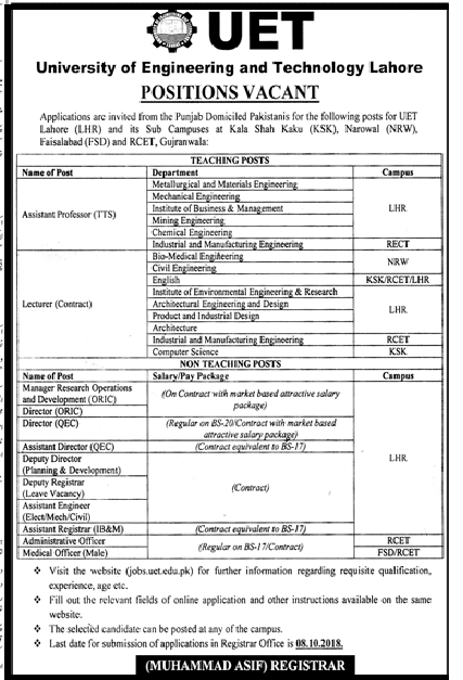 University of Engineering and Technology Lahore Jobs 2018 Teaching and non teaching