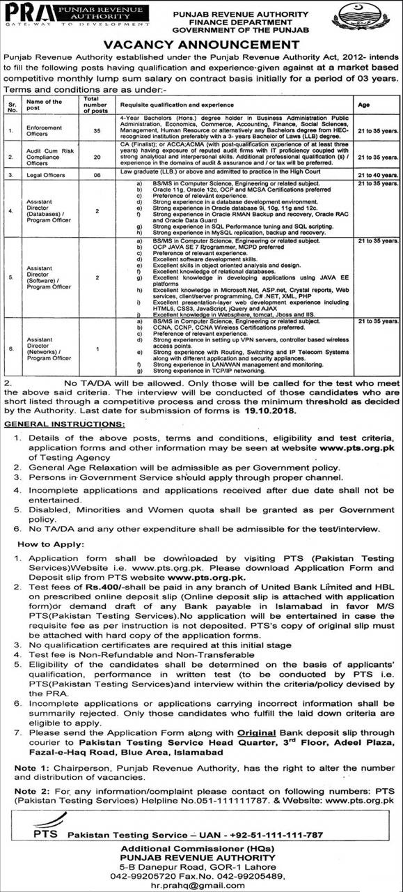 Punjab Revenue Authority PRA PTS Jobs 2018