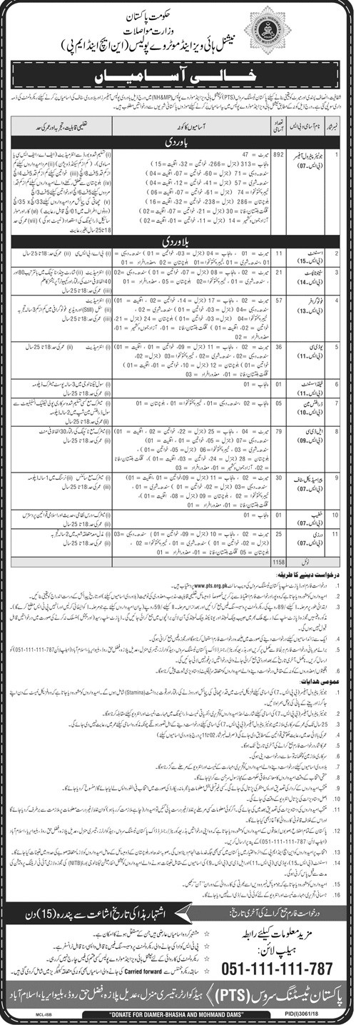 892 Posts of Junior Patrol Officer in Motorway Police PTS Jobs 2019 latest advertisement