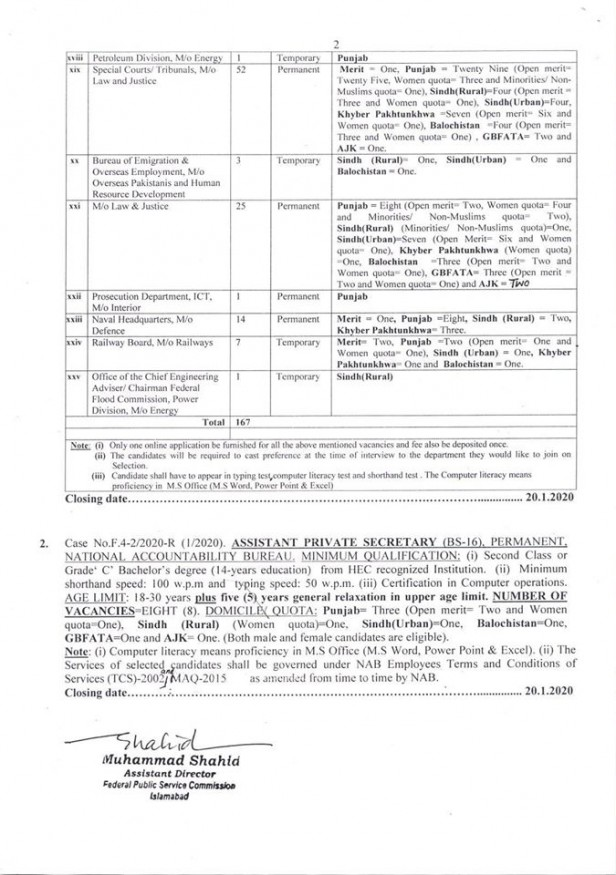 167 Posts of APS announced by FPSC Jobs Advertisement 1 2020