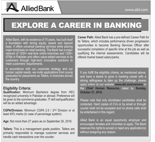 Banking Jobs in Pakistan for fresh graduates