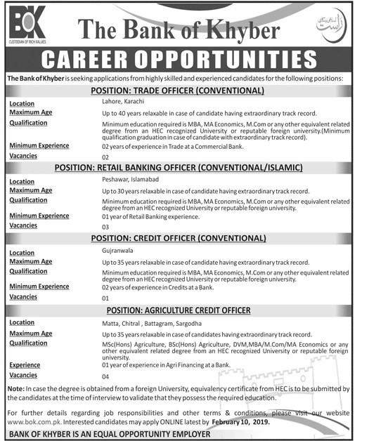 Bank of Khyber Jobs of Trade Officer, Retail Banking Officer, Credit Officer, Agriculture Credit Officer 2019 Laste Banking Jobs in Pakistan