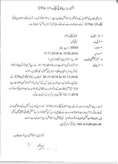 CTI Jobs Advertisement 2018-19