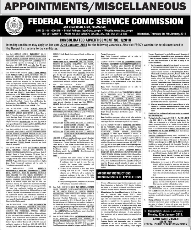 Federal Public Service Commission FPSC Jobs January 2018