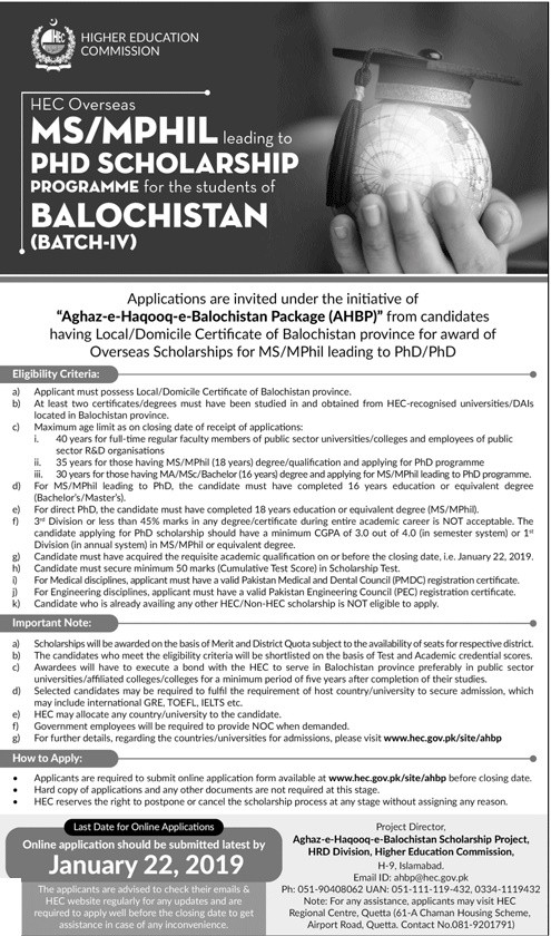 HEC AHBP Overseas Scholarships for MS/MPhil leading to PHD for Students of Balochistan