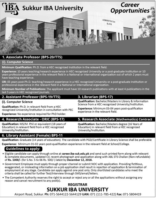 Lecturer, Assistant Professor, Professor Computer Science IBA Sukkur Latest Jobs advertisement