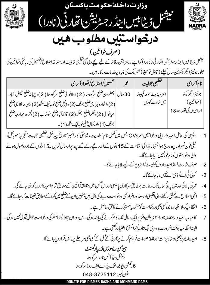 Junior Executive NADRA Female Punjab Jobs 2018