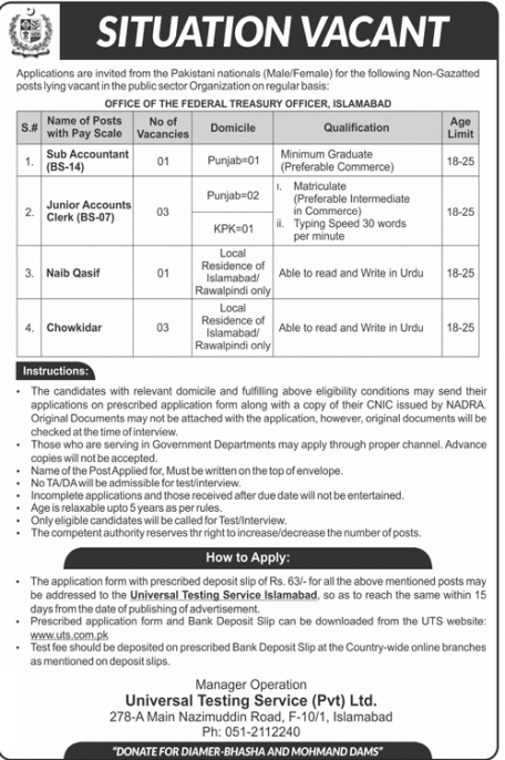 Treasury Officer Islamabad Jobs UTS 2018
