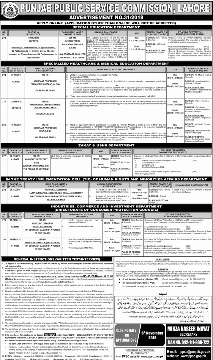 PPSC Latest Jobs Advertisement No.31/2018