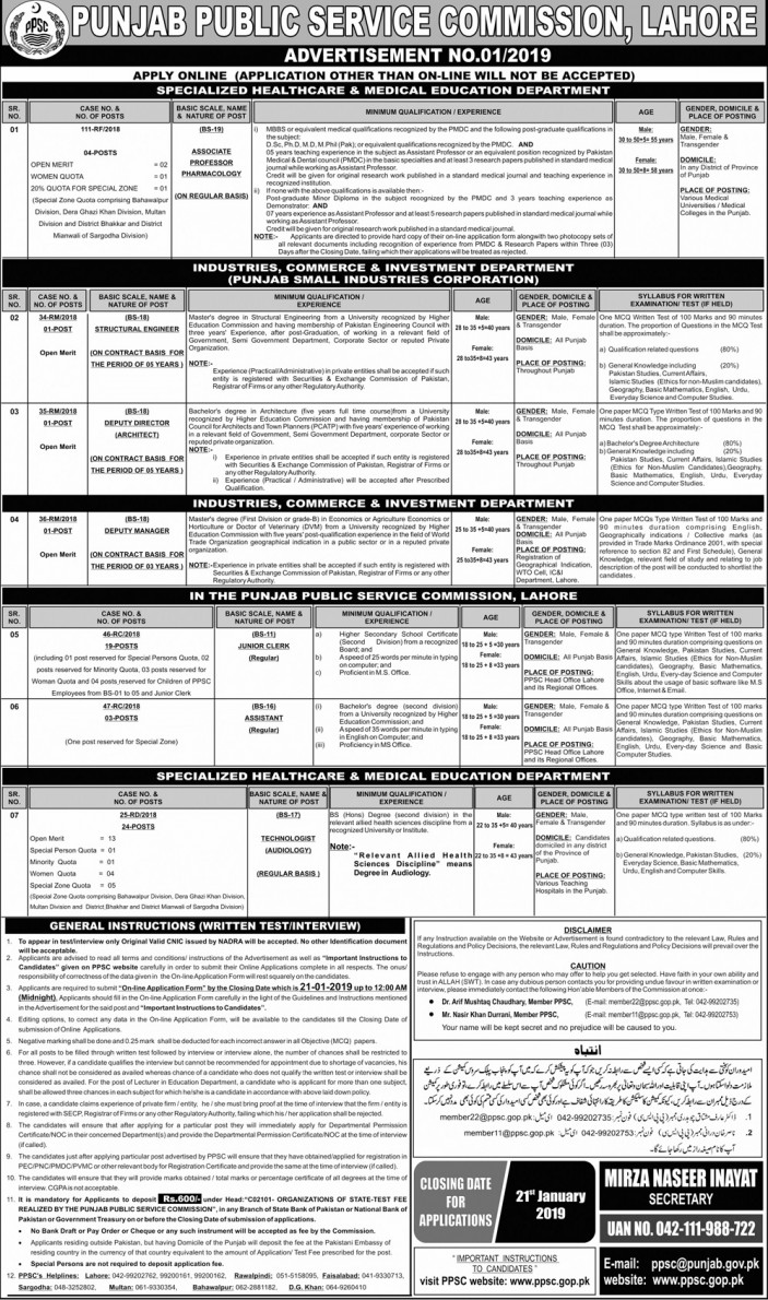 PPSC Jobs of Junior Clerks, Assistant, Deputy Director Department 2019 latest
