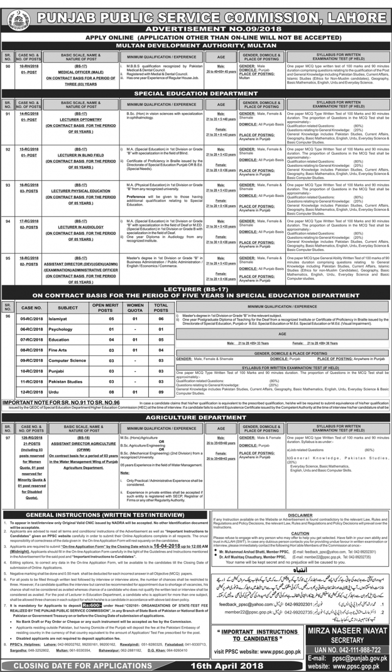 PPSC Latest Jobs Advertisement No. 09 of 2018 Apply Online