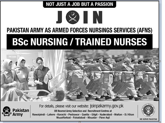 Pak Army BSc Nursing Trained Nurse Jobs 2018 apply online