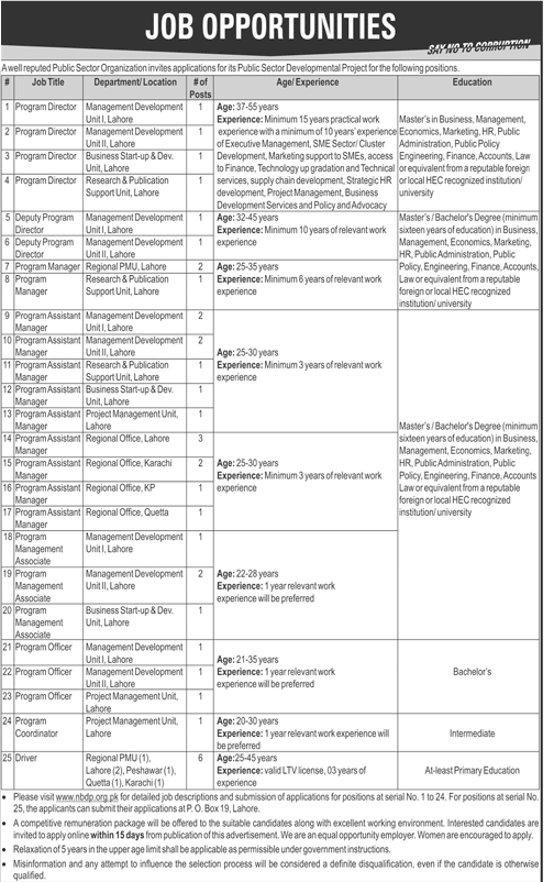 Public Sector Organization Lahore Latest Jobs 2018