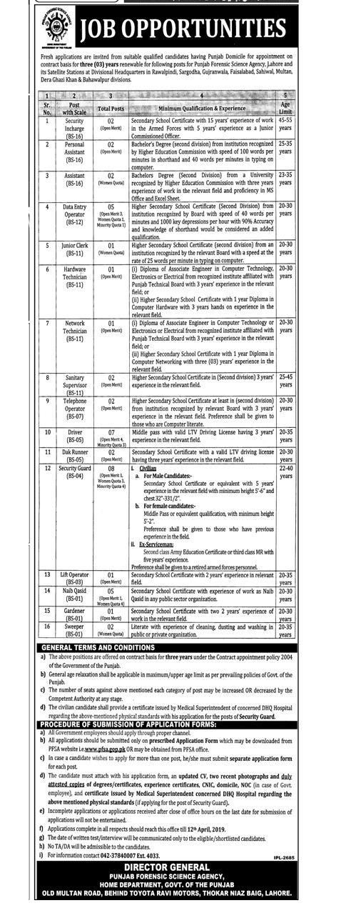 Punjab Forensic Science Agency Lahore Latest Jobs Advertisement 2019
