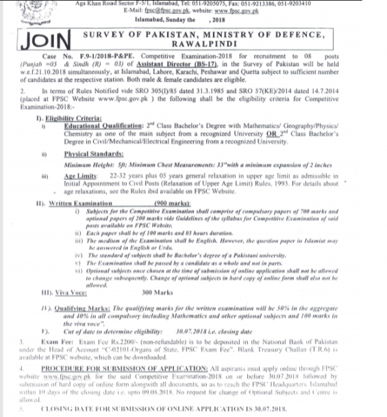 Competitive Exam Survey of Pakistan Assistant Director Jobs 2018