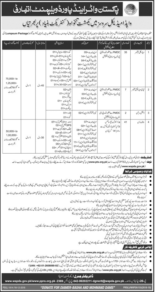 WAPDA Medical Officer , LMO and Staff Nurses PTS Jobs 2018 Download Application Form