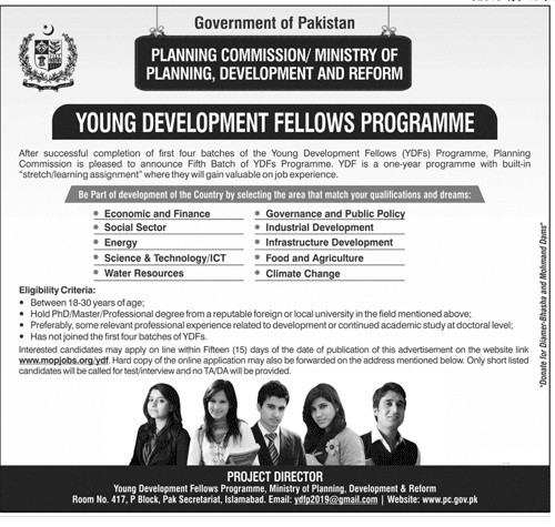 Young Development Fellows Program YDF Batch 5 Planning Commission of Pakistan  Latest jobs